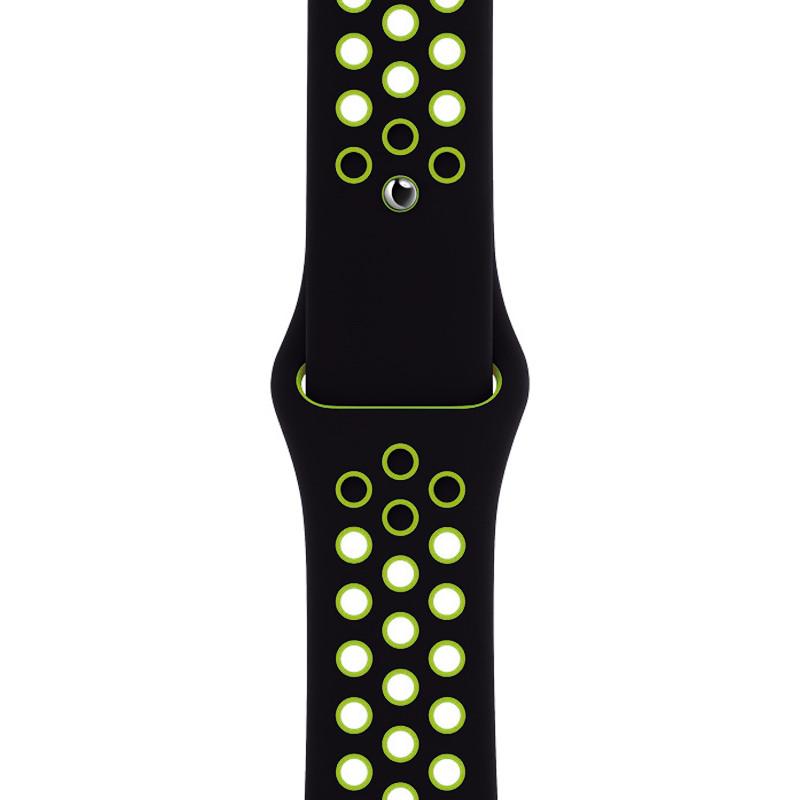 Ремінець для Apple Watch (42-44mm) Nike Sport Band Black/Green - 1