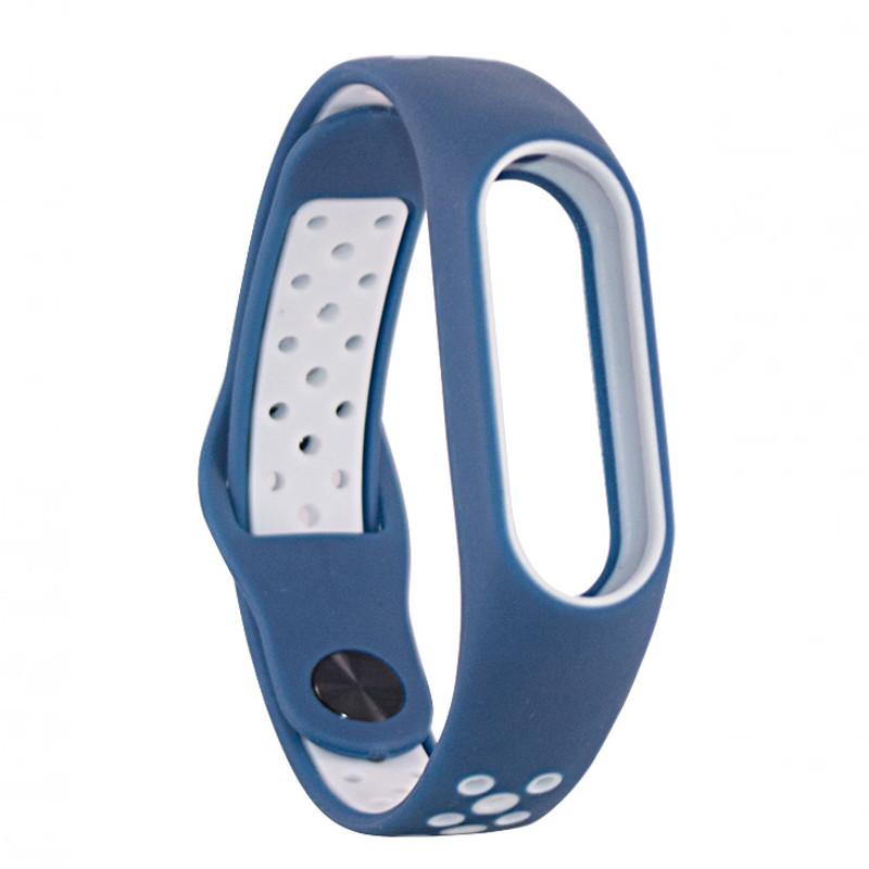 Ремінець для фітнес браслету Mi Band 2 (Nike TPU) Blue/White - 1