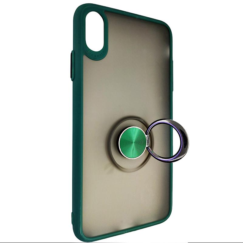 Чохол Totu Copy Ring Case iPhone XS MAX Green+Black - 2