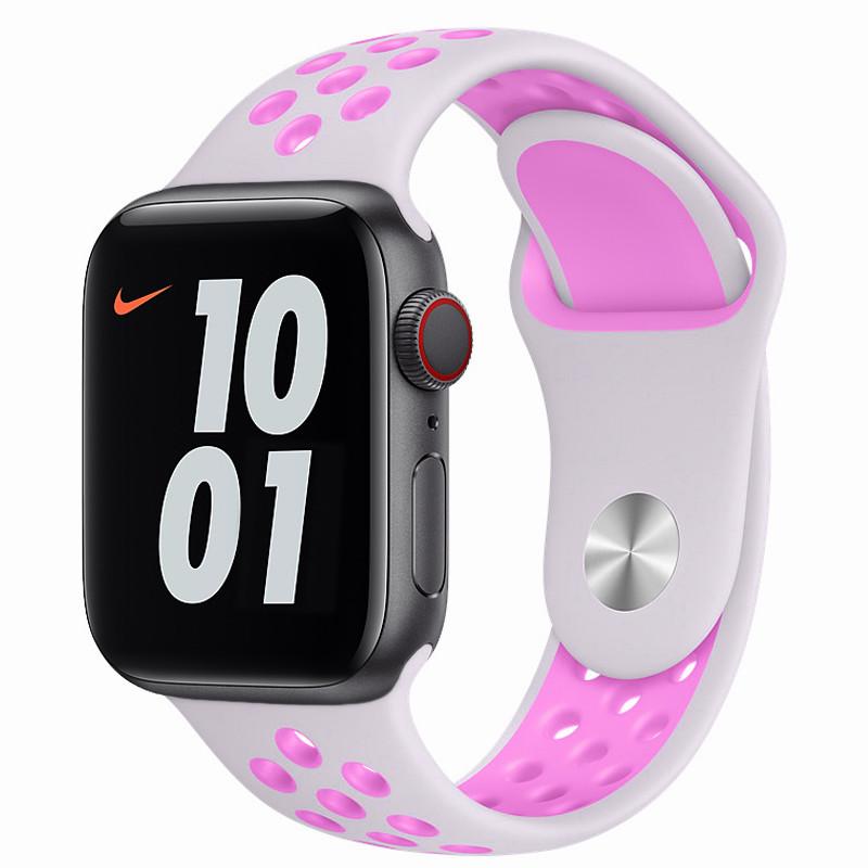 Ремінець для Apple Watch (42-44mm) Nike Sport Band White/Pink - 2