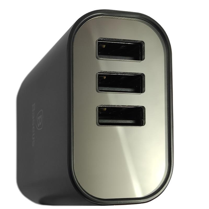 Зарядний пристрій Baseus USB Wall Charger Mirror Lake Intelligent Digital Display 3xUSB Black - 3