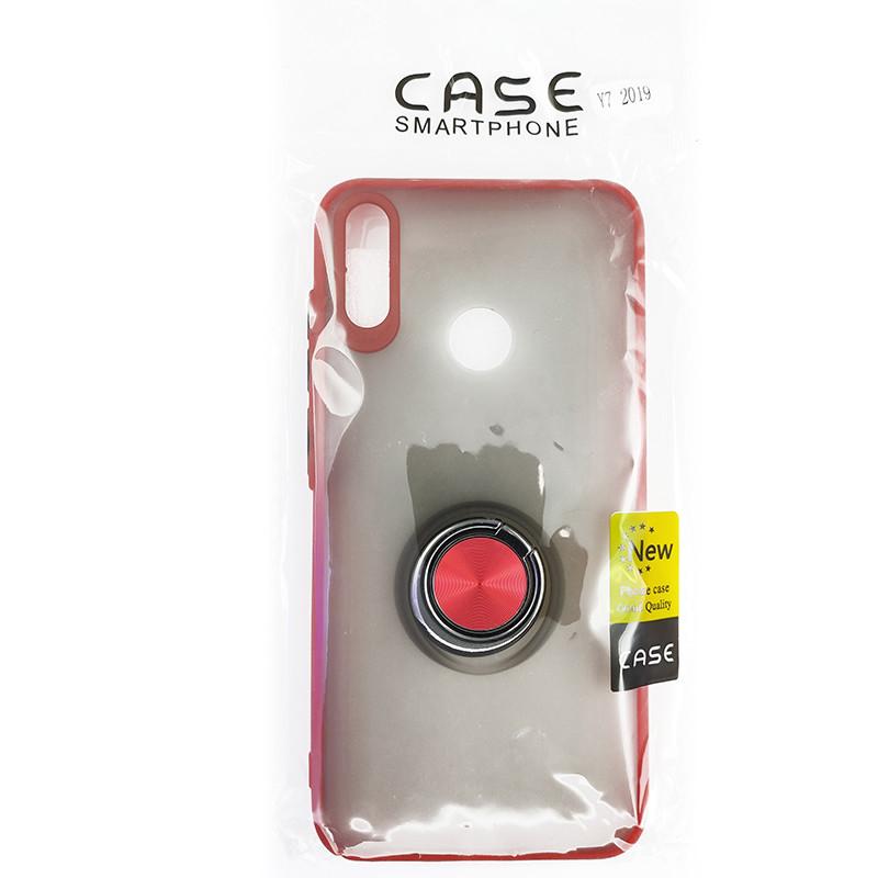 Чохол Totu Copy Ring Case Huawei Y7 2019 Red+Black - 5