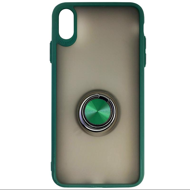 Чохол Totu Copy Ring Case iPhone XS MAX Green+Black - 3