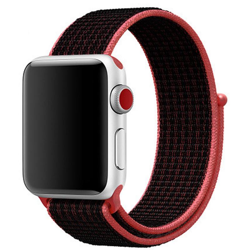 Ремінець для Apple Watch (38-40mm) Sport Loop Nike Black/Red - 2
