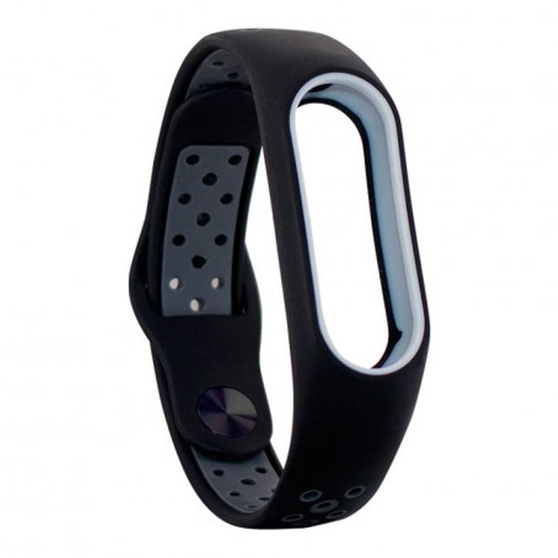 Ремінець для фітнес браслету Mi Band 2 (Nike TPU) Black/Gray - 1