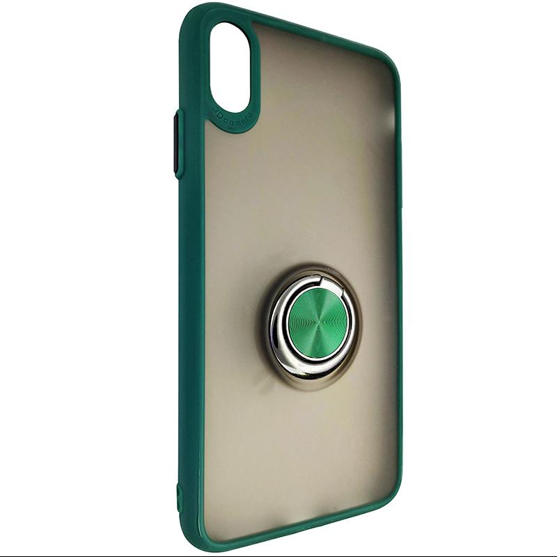 Чохол Totu Copy Ring Case iPhone XS MAX Green+Black - 1