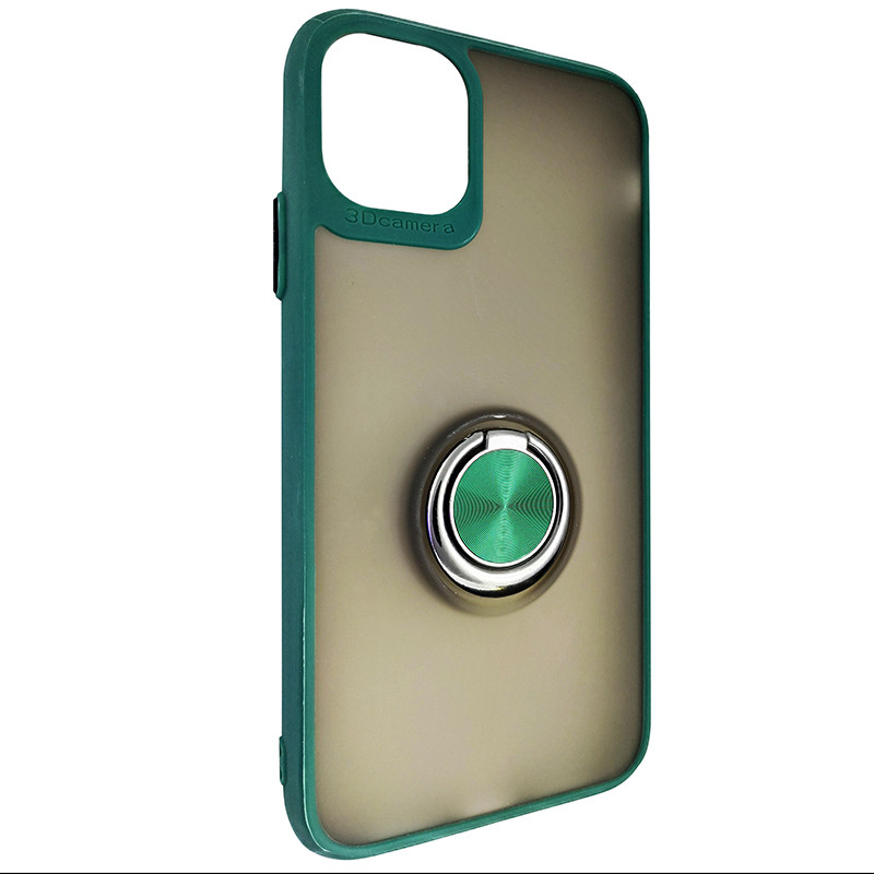 Чохол Totu Copy Ring Case iPhone 11 Green+Black - 1