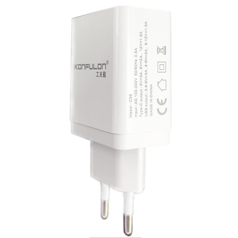 Зарядний пристрій Konfulon C59 1xUSB, 1xPD+QC 3.0 White - 2