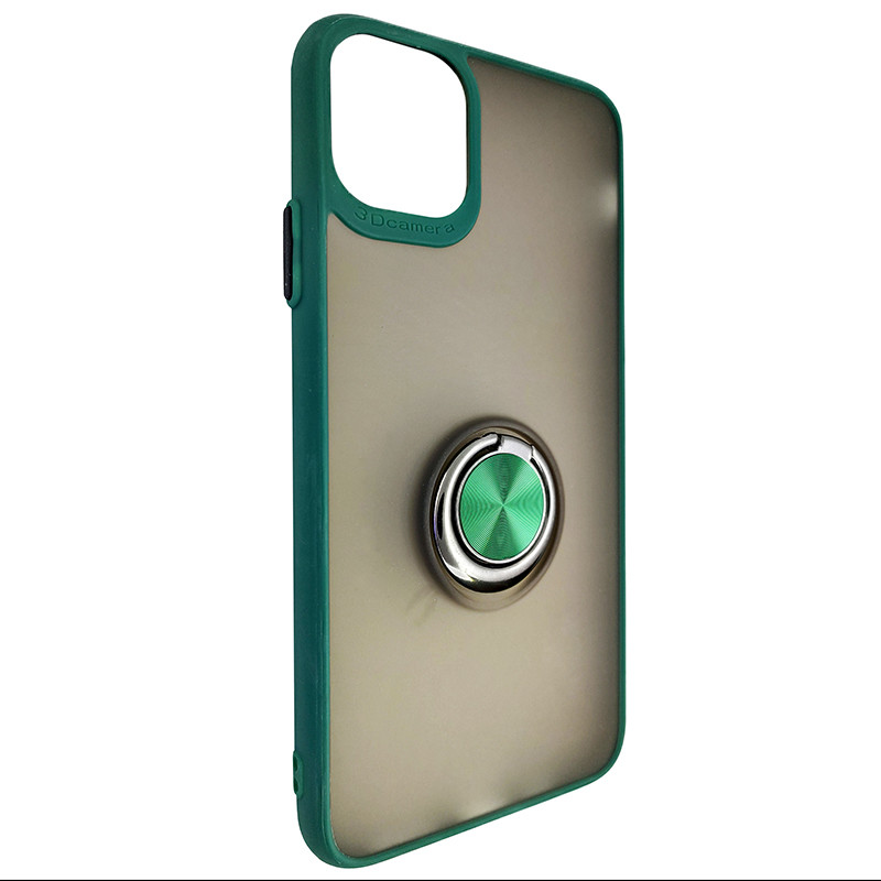 Чохол Totu Copy Ring Case iPhone 11 Pro Max Green+Black - 1