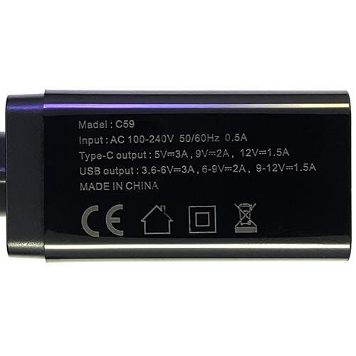 Зарядний пристрій Konfulon C59 1xUSB, 1xPD+QC 3.0 Black - 3