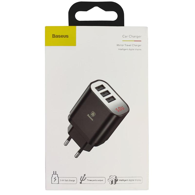 Зарядний пристрій Baseus USB Wall Charger Mirror Lake Intelligent Digital Display 3xUSB Black - 4