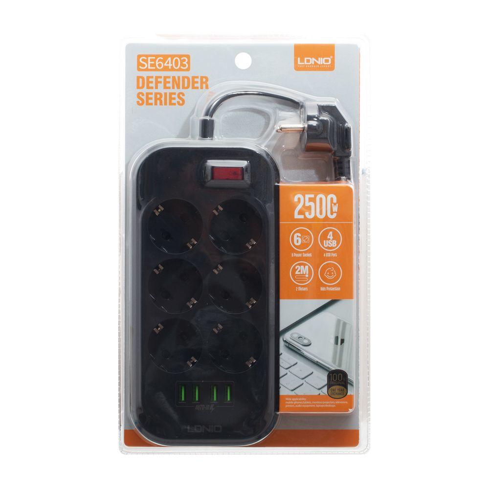 Мережевий Подовжувач LDNIO SE6403 4USB Black - 2