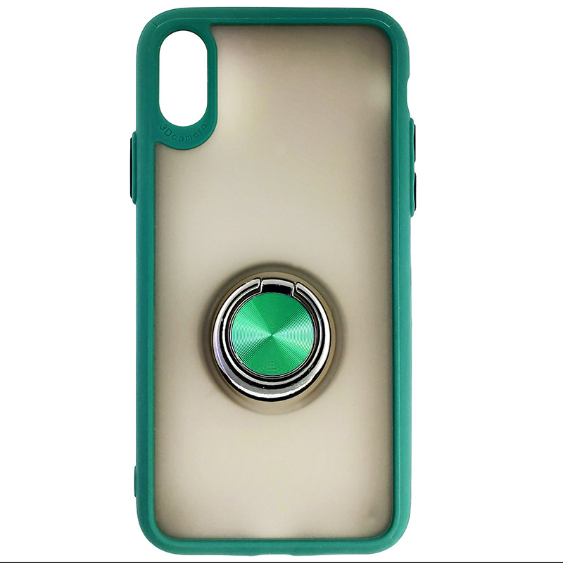 Чехол Totu Copy Ring Case iPhone X/XS Green+Black - 3