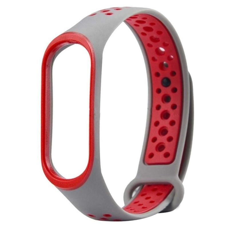 Ремінець для фітнес браслету Mi Band 3/4 Sport Band Nike Gray/Red - 1