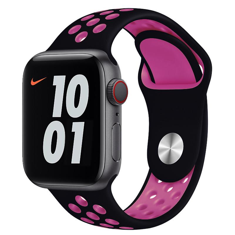 Ремінець для Apple Watch (42-44mm) Nike Sport Band Black/Pink - 2