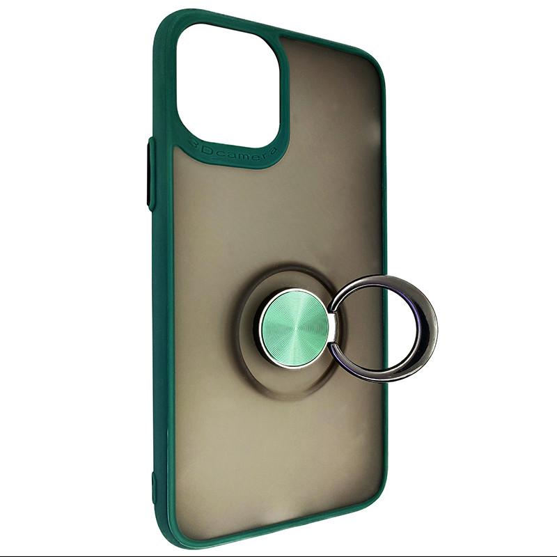 Чохол Totu Copy Ring Case iPhone 11 Pro Green+Black - 2