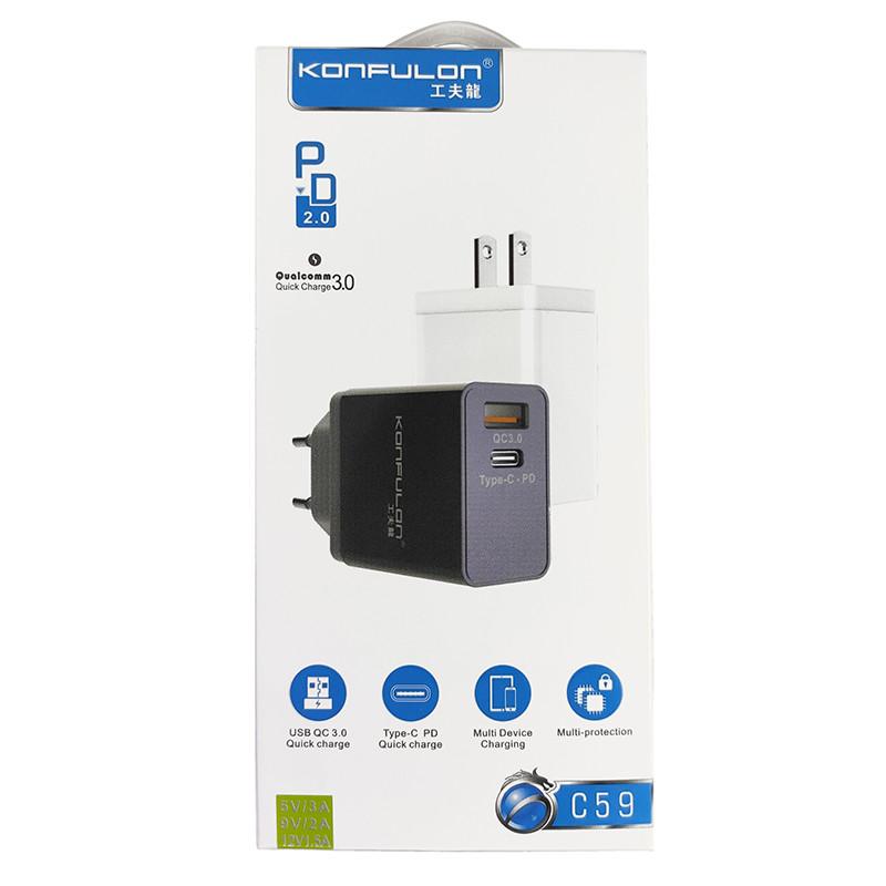 Зарядний пристрій Konfulon C59 1xUSB, 1xPD+QC 3.0 White - 4