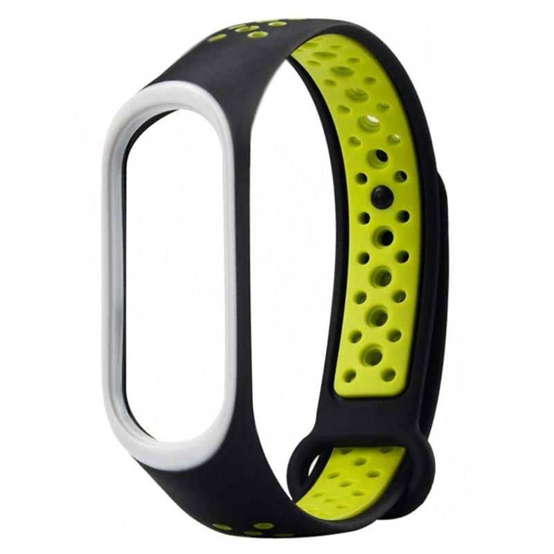 Ремінець для фітнес браслету Mi Band 3/4 Sport Band Nike Black/Green - 1