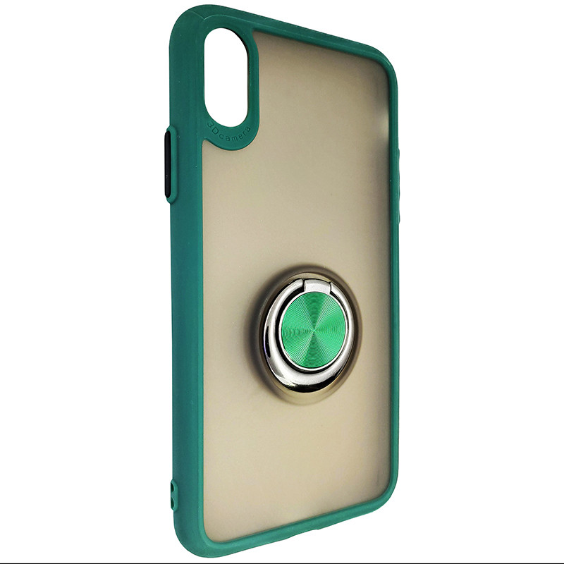 Чехол Totu Copy Ring Case iPhone X/XS Green+Black - 1