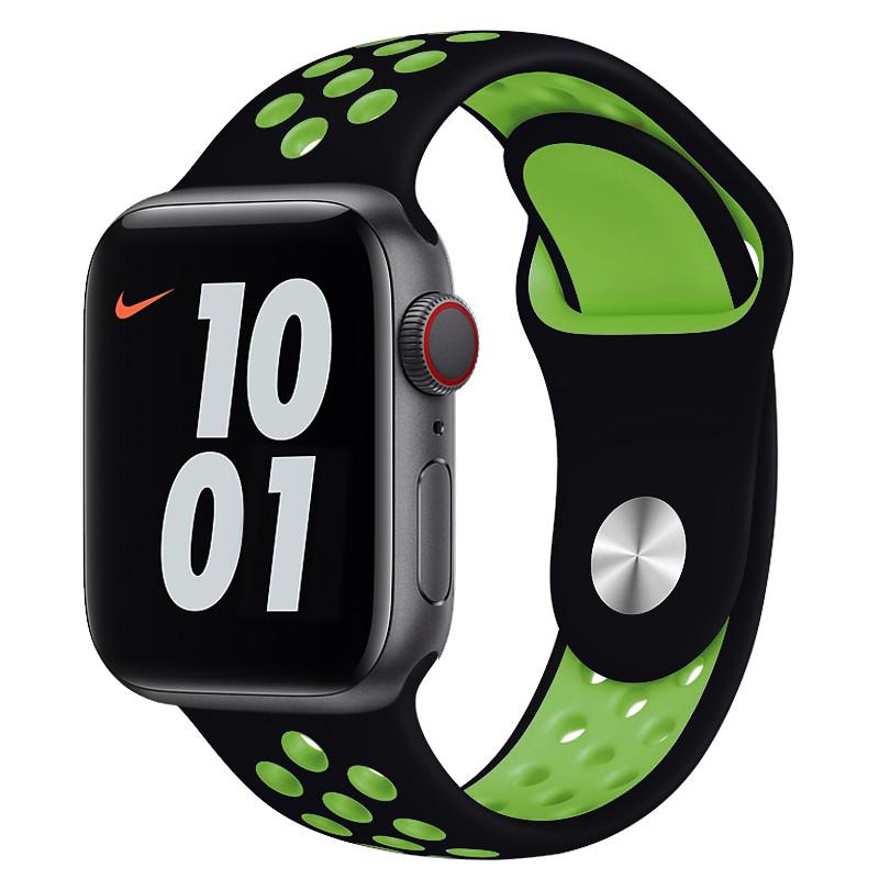 Ремінець для Apple Watch (42-44mm) Nike Sport Band Black/Green - 2