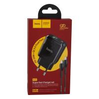 Мережевий Зарядний Пристрій Hoco N5 PD20W+QC3.0 Type-C TO Type-C Black
