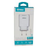 Мережевий Зарядний Пристрій Inkax CD-53 Micro QC 3.0 White