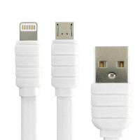 Кабель Konfulon S56 2in1 Micro+Lightning, 1m, 2.1A, White