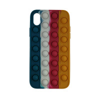 Чохол Pop it Silicon case iPhone X/XS Blue+White+Red