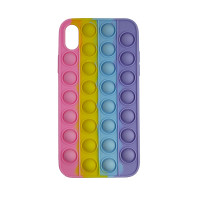 Чохол Pop it Silicon case iPhone X/XS Pink+Yellow+Blue