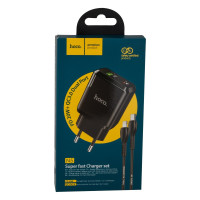 Мережевий Зарядний Пристрій Hoco N5 PD20W+QC3.0 Type-C TO Lightning Black
