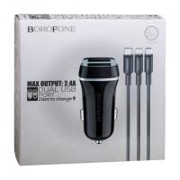 Автомобільний Зарядний Пристрій Borofone BZ2 2 USB 2.4A 3in1 Black