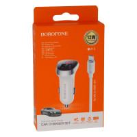 Автомобільний Зарядний Пристрій Borofone BZ15 Micro2USB White