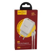 Мережевий Зарядний Пристрій Hoco N5 PD20W+QC3.0 Type-C TO Type-C White