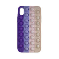 Чохол Pop it Silicon case iPhone X/XS Violet+Pink+Cream