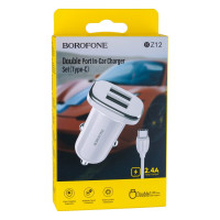 Автомобільний Зарядний Пристрій Borofone BZ12 2.4A Type-C 2 USB