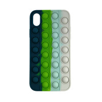 Чохол Pop it Silicon case iPhone X/XS Blue+Green+White