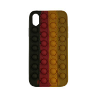 Чохол Pop it Silicon case iPhone X/XS Black+Red+Brown