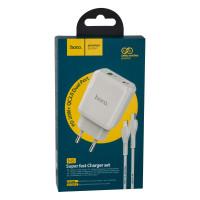 Мережевий Зарядний Пристрій Hoco N5 PD20W+QC3.0 Type-C TO Lightning White